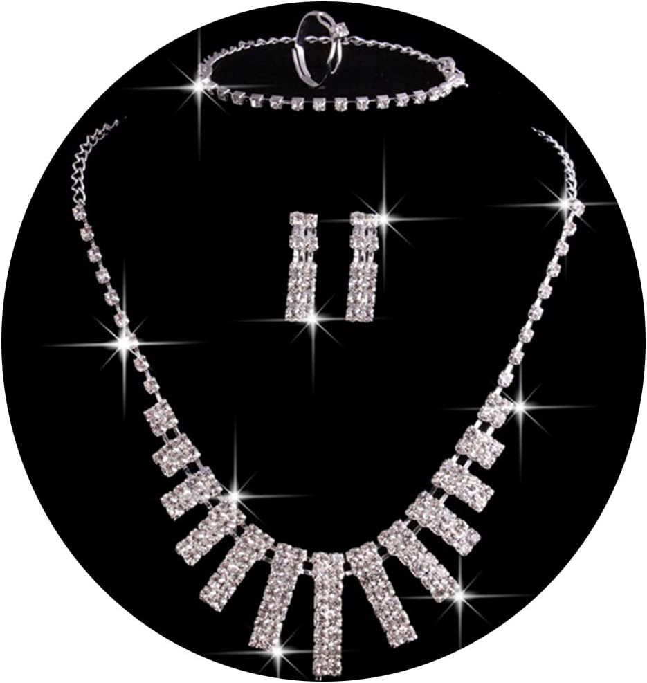 Huangyong Clear Crystal and Cubic Zircon Necklace and Earrings Jewelry Set for Women Wedding Accessories