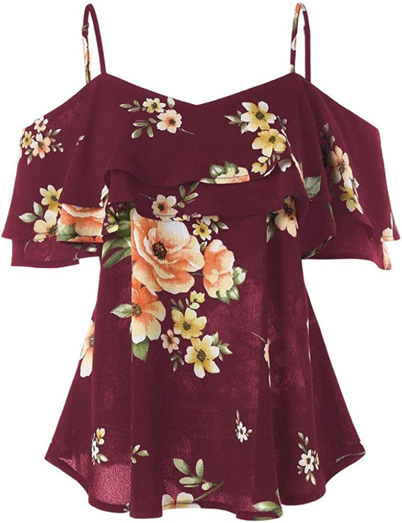 Women free shipping Off Shoulder Floral Printing Blouse Shirt Tops Max 68% OFF Sleeveless