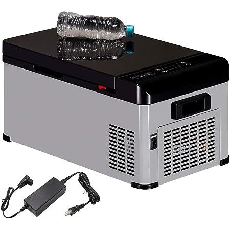 AVEST 氷も作れる ブラック鏡面天板の ポータブル冷蔵庫 車載冷蔵庫 車載用 冷凍庫 車用 家庭でも使用可 AC100V 小型 保冷 シートベルト取付可 12V24V兼用 静音 -25℃~20℃ 容量18L ACアダプター付