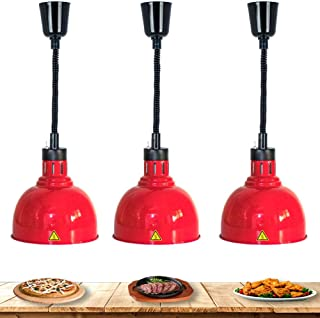 RSHJD Comercial Lámpara de Calor de Alimentos, Lámpara calentadora de alimentos telescópica Lámpara calefactora tipo buffet Lámpara colgante de elevación, 220V 250W 3-Pack