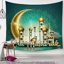SevenShop Tapiz Mandala Indio Colgante de Pared Caligrafía árabe Bismillah Tapices islámicos Picnic Playa Sábana Mantel Decoración del hogar 150X200CmG429A-5