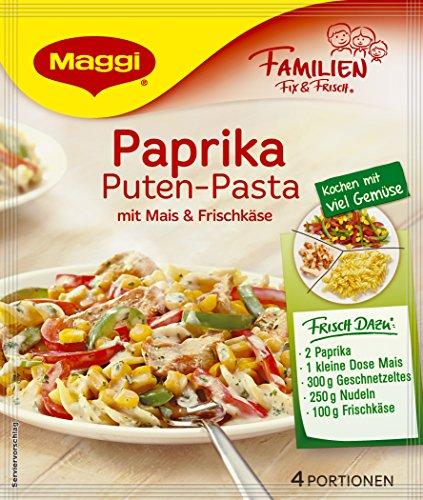 Maggi Familien fix & frisch Paprika Puten-Pasta mit Mais & Frischkäse, 38 g Beutel, ergibt 4 Portionen