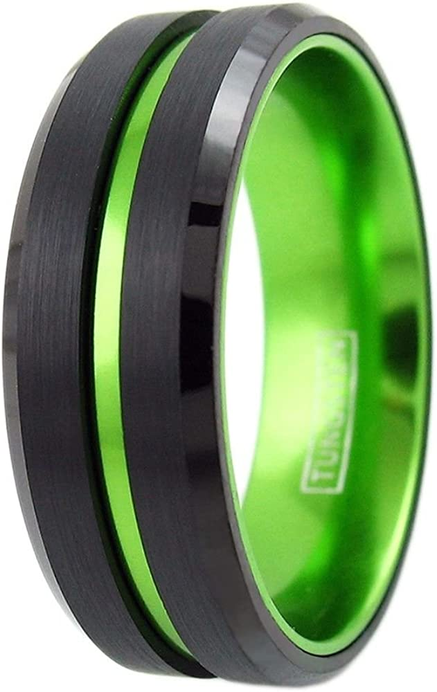 King's Cross Sublime 6mm/8mm Black Tungsten Carbide Band Ring w/Lime Green Stripe & Matching Lime Green Anodized Aluminum Inner Band.