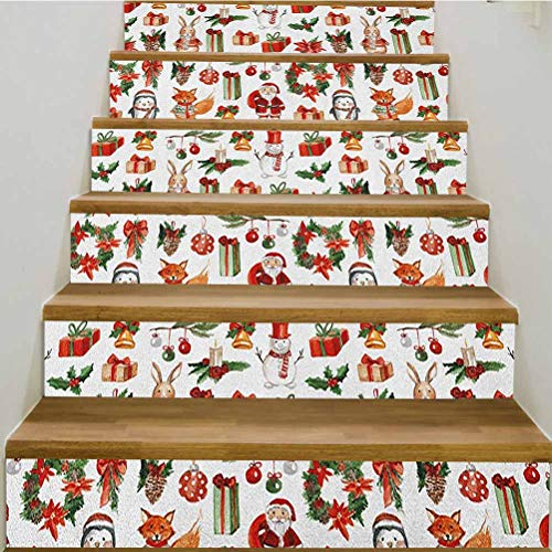 3D Christmas Self-Adhesive Stair Riser Decal,Traditional Celebratory Icons Rabbits Santa Claus Pine Cones Boxes Candles Staircase Decals Mural Decor Wallpaper,39.3'w x 7'h x6pcs/1 Set,Red Green Orange