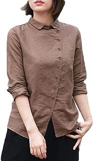 Womens Casual Oblique Button Long Sleeve T-Shirt Loose Linen Tops Blouse Shirt