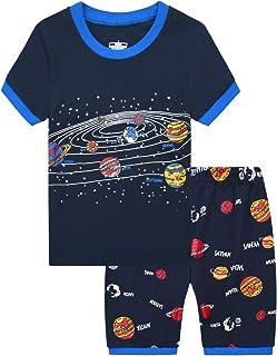 MIXIDON Pijama Corto para Niños Pequeños con Diseño de Dinosaurio y Tren de Algodón PJS, 2 Piezas, Ropa de Dormir para Niñ...