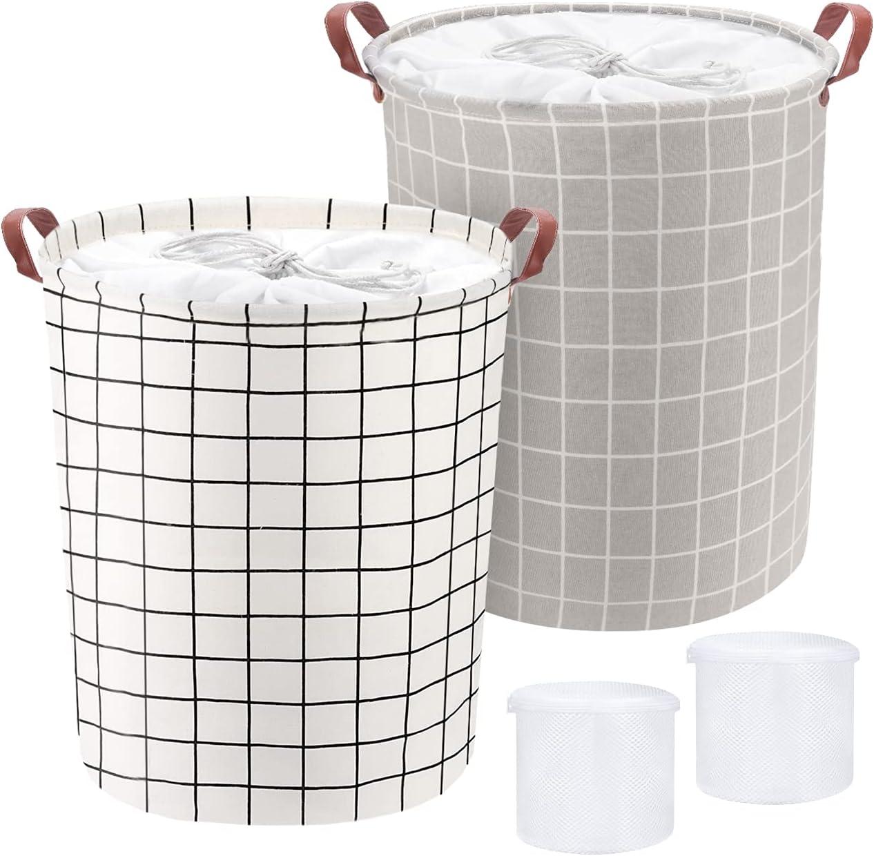 Cesto Ropa Sucia, 2 Piezas 62L Cestos para la Colada Plegables Impermeables de Algodón, Cestos de Lavandería con Asas y Cordón para Ropa Juguetes
