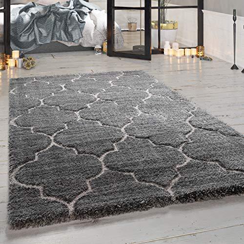 Paco Home Hochflor-Teppich, Weicher Shaggy Für Wohnzimmer Mit Orient Design, In Grau, Grösse:80x150 cm