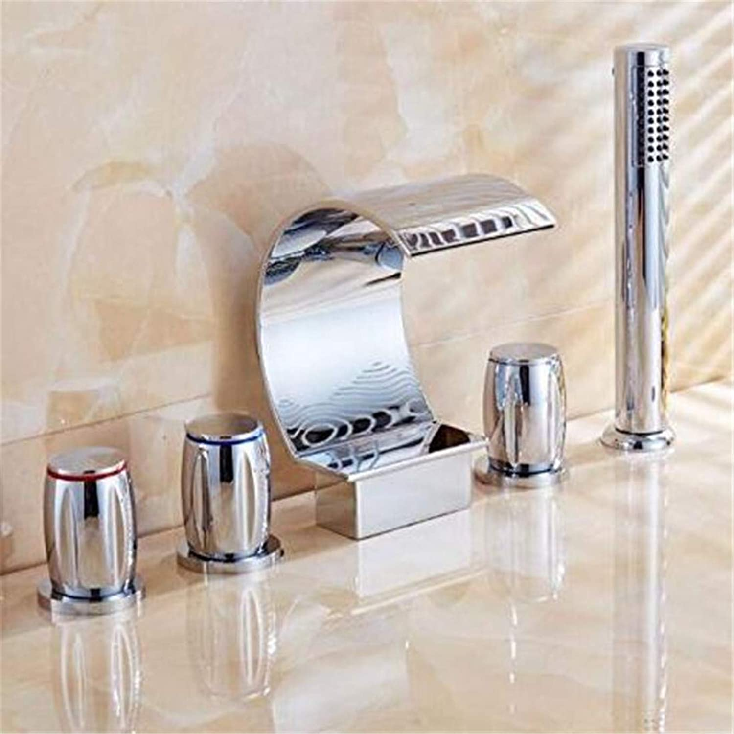 Chrome Kitchen Sink Tapfaucet Chrome Waterfall Spout Mixer Taps Chrome Brass Bathroom Shower Faucet with Handshower