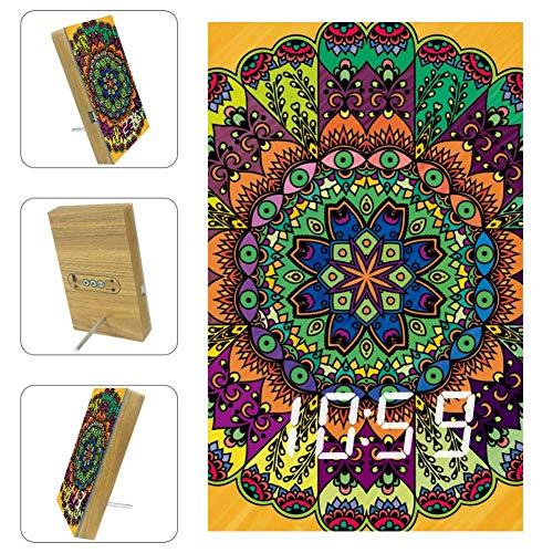 TIZORAX Alarm Klokken Mandalas Adult Kleurplaten LED Digitale Klokken voor Office Keuken Woonkamer Desktop met USB Opladen