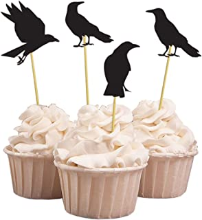 (Pack of 20) Halloween Party Black Crow Cupcake Toppers, Handmade Party Dessert Cake Decorations, 4 Designs