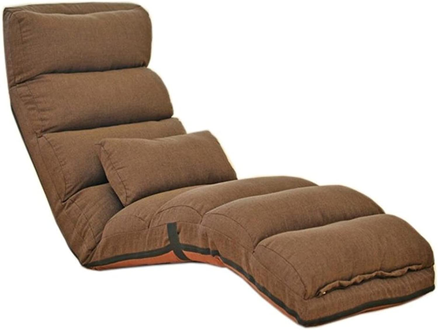 Recliners Lazy Sofa Home Recliner Sofa Living Room Bedroom Floor Sofa Go Out to Carry Folding Sofa Single Leisure Sofa Stylish Tatami Backrest Sofa (color   Brown, Size   175cm)