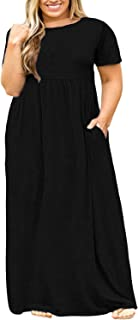 Women Short Sleeve Loose Plain Casual Plus Size Long Maxi...