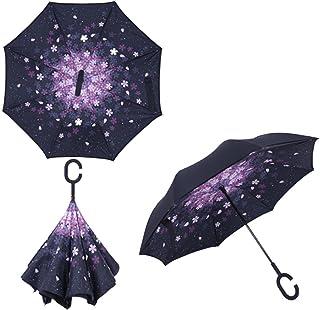 逆さ傘 さかさ傘 晴雨兼用 UPF50+ C型グリップ 自立式 自動車の乗り降りに便利
