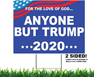 Best M&R Anyone BUT Trump 2020 18x24-inch Weatherproof One Sided Yard Sign & Free Bumper Sticker Decal Review