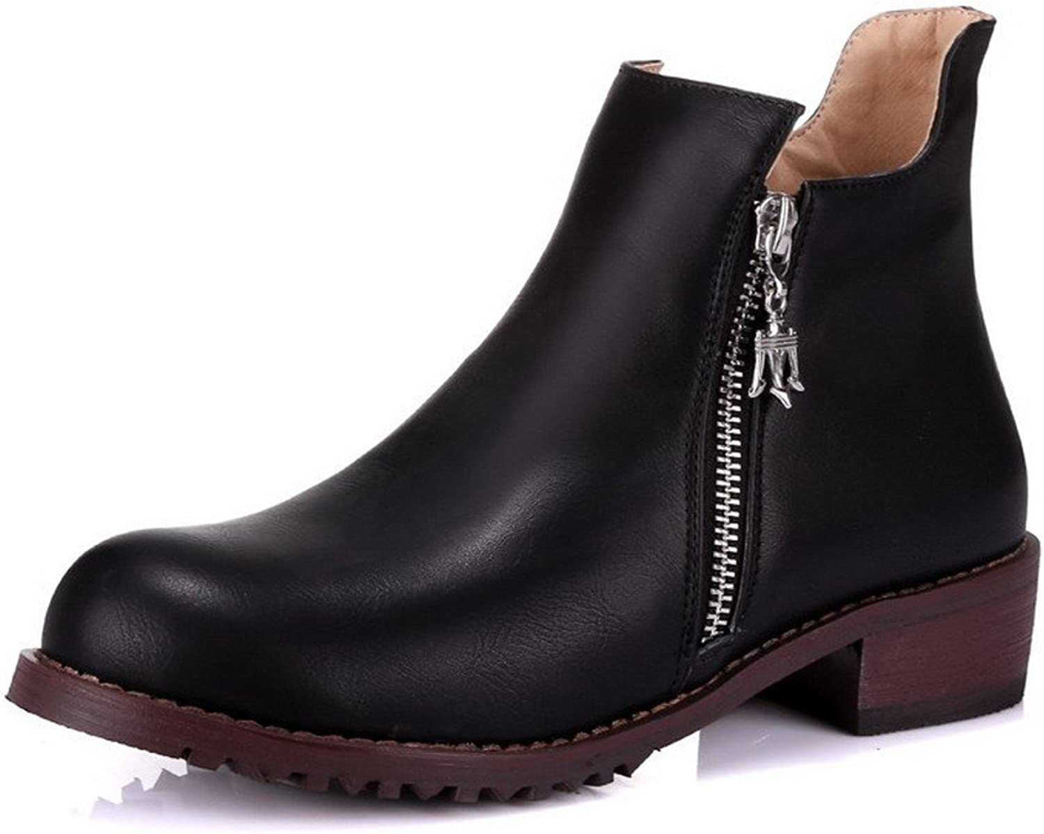 WeenFashion Women's PU Low-Heels Round-Toe Boots with Charms and Slipping Sole