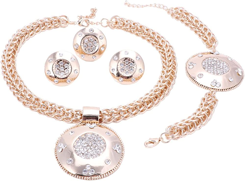 Women 18K Gold Plated Crystal Africa Dubai Wedding Party Necklace Jewelry Set
