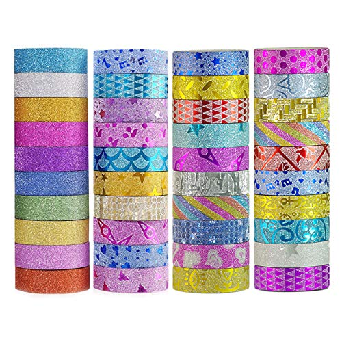 DIY Glitter Washi Tape Set  40 Rolls Craft Decorative Tape Great for BujoBullet Journal AccessoriesScrapbook Arts and Crafts Projects
