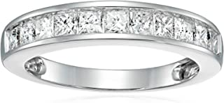 1 CT IGI Certified Princess Diamond Wedding Band in 14K White Gold