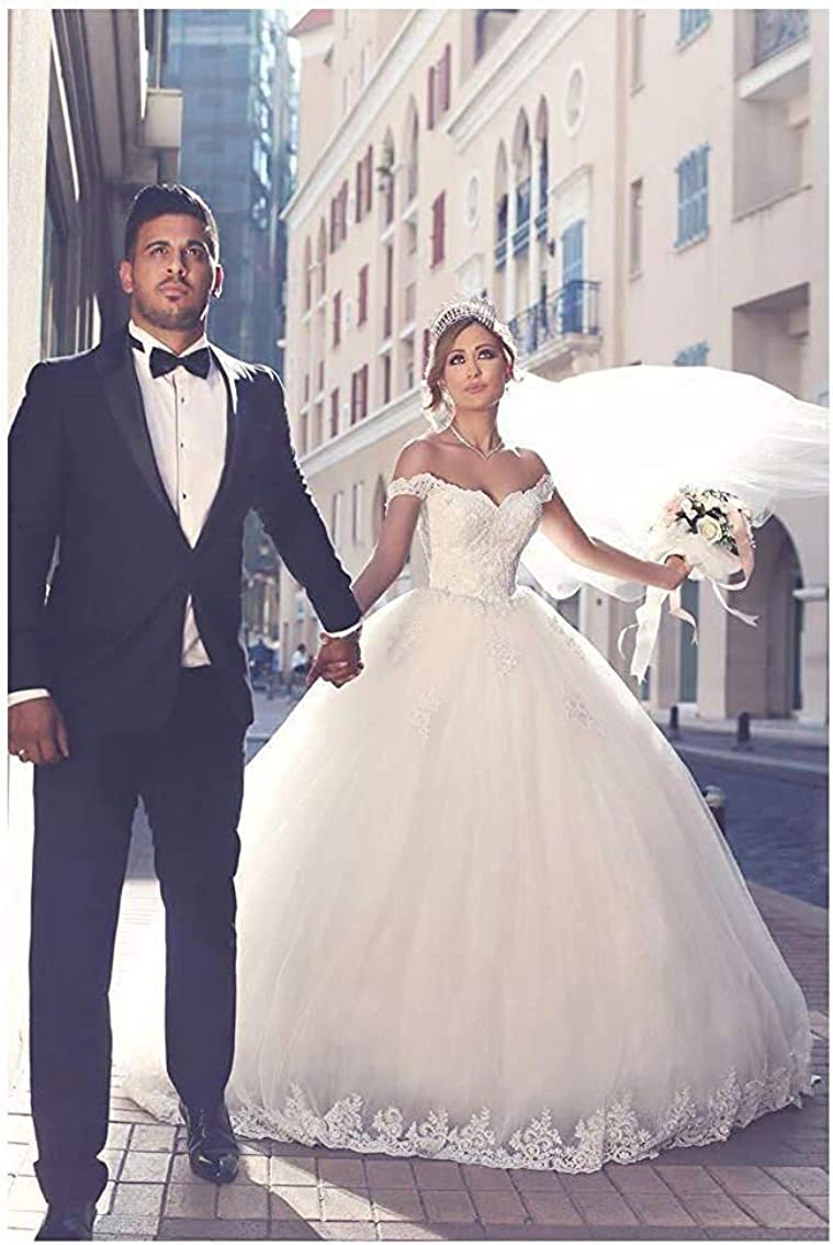ONLYFINE Women's Vintage Elegant Off Shoulder Ball Gowns Wedding Dresses Lace Applique Bridal Gown with Sleeves