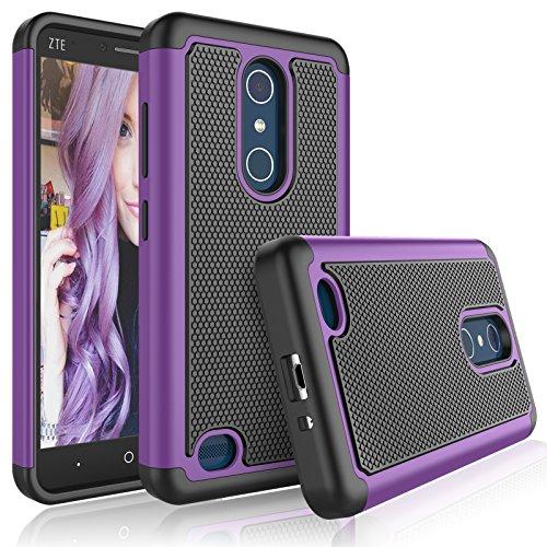 Tekcoo ZTE Zmax Pro Case, Tekcoo ZTE Blade X Max Cute Case, [Tmajor] Shock Absorbing [Purple] Adorable Rubber Silicone Plastic Scratch Resistant Defender Bumper Hard Cases Cover for ZTE Z983 Z981