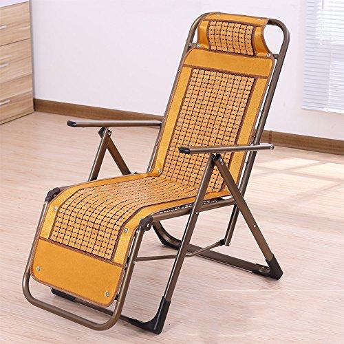 RENJUN Sommerliege Klappstuhl Bambus Seide Rücken Stuhl Strandkorb Balkon Mittagspause Stuhl Folding Chair (Color : C)