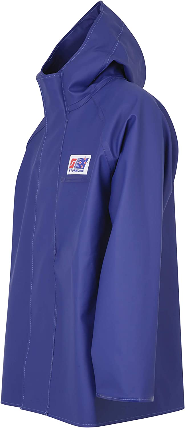 Stormline 248 Durable PVC Commercial Rain Gear Jacket for Construction, Fishing, Farming, Workwear- Blue or Yellow (Blue, 2XL)