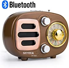SEMIER Retro AM FM Portable Bluetooth Speak Radio, Shortwave Compact Transistor Radios with Rechargeable Battery Support USB MP3 Player/TF Card/AUX -Gold