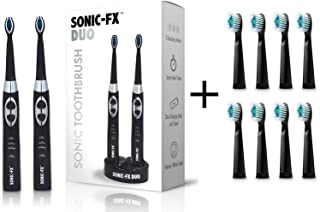 Sonic-FX Duo Electric Toothbrush Set Plus 8-Pack of Replacement Brush Heads (Black)