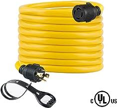 25FT Heavy Duty Generator Locking Power Cord NEMA L14-30P/L14-30R,4X10 Gauge SJTW Cable, 125/250V 30Amp 7500 Watts Yellow Generator Lock Extension Cord with UL Listed Yodotek