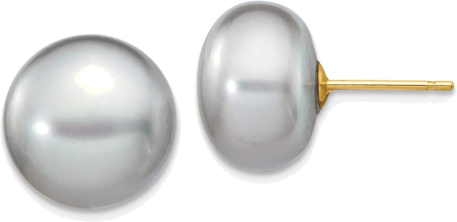 11-12mm Grey Button Freshwater Cultured Pearl Stud Post Earrings in 14K Yellow Gold