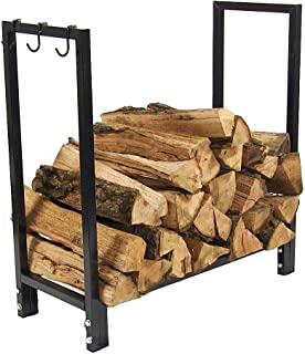 Sunnydaze Indoor/Outdoor Firewood Log Rack Holder, Fireplace Wood Storage Stand, 30 Inch, Black