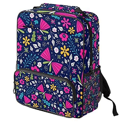Zaino casual per computer portatile, borsa da lavoro alla moda con stampa blu navy farfalla per donne/ragazze/uomini