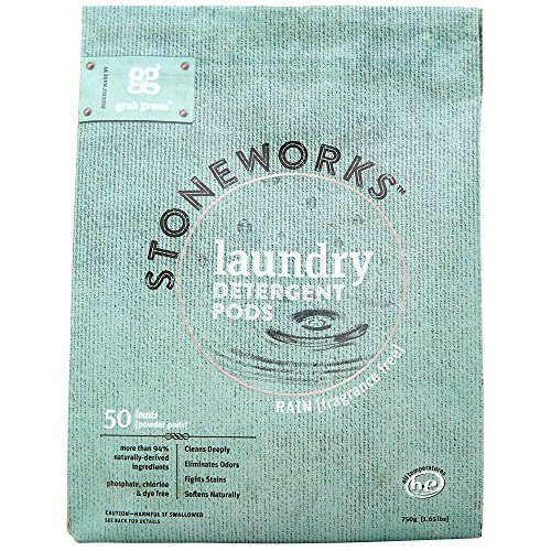 Grab Green Stoneworks Laundry Detergent Pods, Powered by Naturally-Derived Plant & Mineral-Based Powder Pods, Fragrance Free Rain, 50 Count (Pack of 1) Loads-EPA Safer Choice Certified