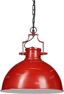 Relaxdays Lámpara de techo industrial, Con cadena, Un foco, Iluminación de ambiente, Hierro, 154x41x41 cm, 1 Ud., Rojo