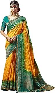 YELLOW Indian Woman Wedding Swarovski Pallu Saree Pure Soft Silk Bandhej Weaving Bridal Bandhani Sari Blouse 6246
