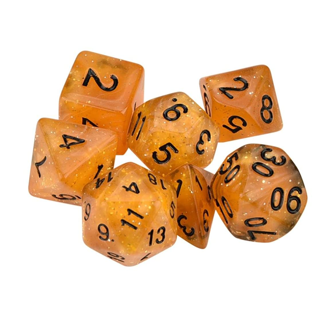 Gbell TRPG Game Dungeons & Dragons Polyhedral D4-D20 Multi Sided Acrylic Dice for Kids Adults 7pcs/Set (Orange)