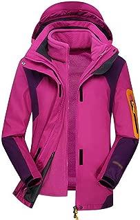 FYXKGLa Women's Outdoor Jacket Warm ski Suit Hooded Windproof Mountaineering Suit (Color : Purple, Size : L)