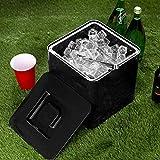 bar@drinkstuff Secchiello per il ghiaccio da 10 litri, in plastica quadrata nera con doppia parete