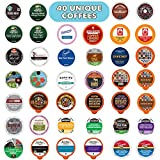 Coffee Variety Sampler Pack, Assorted KCups and Single Serve Coffee Pods with No Duplicates - for Keurig K Cup Machines, 40 Count - Great Coffee Gift
