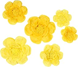 BalsaCircle 6 pcs 7 9 11-Inch Dark and Light Yellow Paper Peony Flowers - Wall Backdrop Party Wedding Decorations Supplies Sale