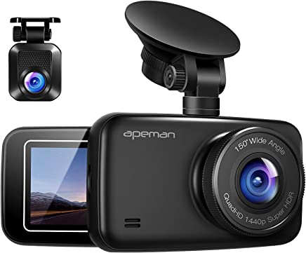 APEMAN 1440P&1080P Dual Dash Cam Full HD Front and Rear...