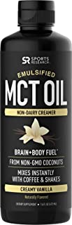 Emulsified MCT Oil (16oz) Made from Non-GMO Coconuts ~ Non-Dairy Creamer for Cold Brew, Keto Coffee, Protein Shakes, Salad...