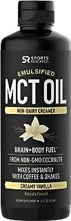 Emulsified MCT Oil (16oz) Made from Non-GMO Coconuts ~ Non-Dairy Creamer for Cold Brew, Keto Coffee, Protein Shakes, Salads & More ~ No Blending Required ! (Creamy Vanilla Flavor)