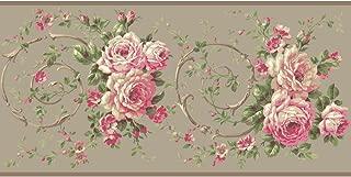 York Wallcoverings Casabella II Rose Scroll Border Memo Sample, 8 by 10-Inch, Cloud Grey, Bright Pink, Raspberry, White, Beige, Browns, Various Green Hues