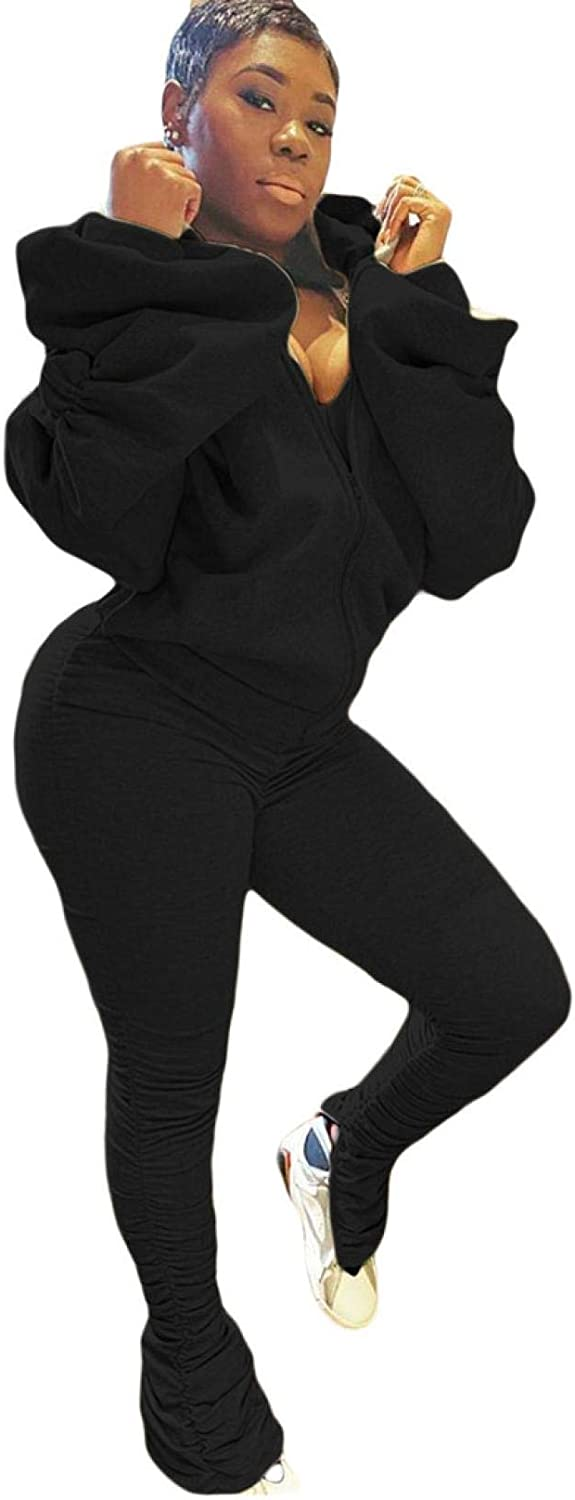 2 Pieces Long Sleeve Outfits for Women Sexy Backless Nightclub Full Zip Hoodies Side Split Pants Jogger Tracksuit Set