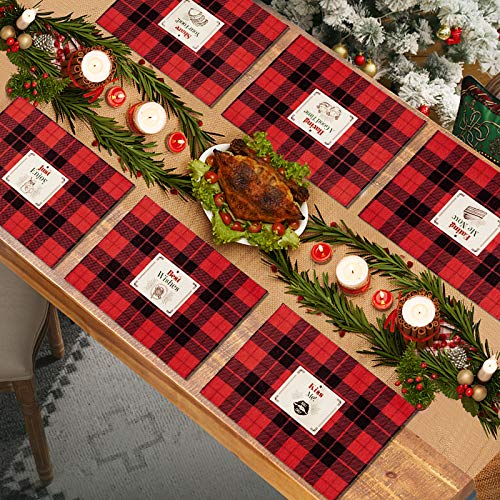 EPSLT Cotton & Burlap Buffalo Check Placemats Red and Black Christmas Placemats Set of 6 Waterproof and Easy - Clean Table Mats for Table Decorations