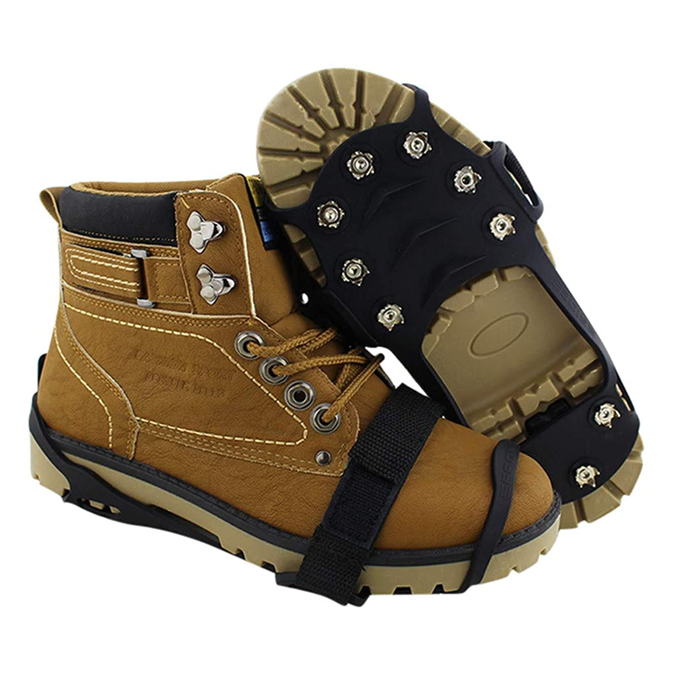 Dreamyth- Non-Slip Snow Cleats Shoes Boots Cover Step Ice Spikes Grips Crampons for Hiking Black