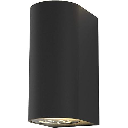 B.K.Licht applique murale LED extérieur intérieur moderne noire, spot mural GU10, 2 spots de 400lm chacun, éclairage moderne jardin terrasse garage, IP44, 2x5W
