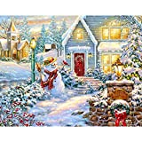 Arfbear DIY Oil Painting, Paint by Numbers Kits for Adults, Christmas Snowman 16x20 Inches Frameless